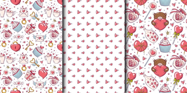 Insieme di modelli senza soluzione di continuità con il giorno di san valentino e oggetti d'amore in stile doodle