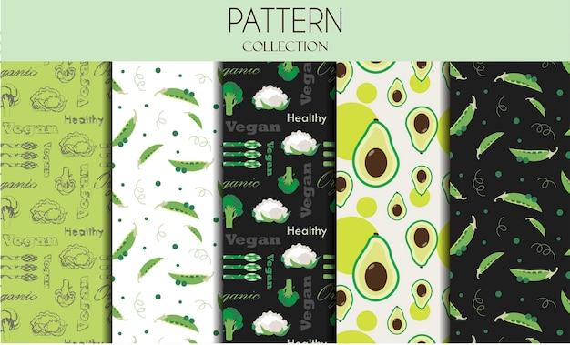Una serie di modelli senza soluzione di continuità con le verdure illustrazione piatta modelli vettoriali