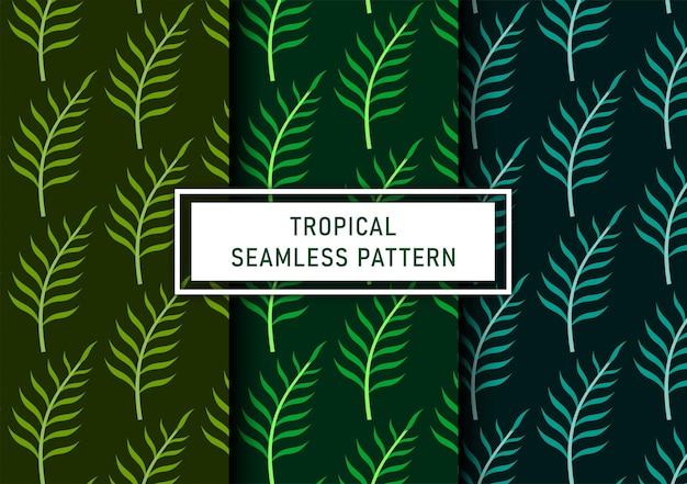 Set di sfondo di foglie tropicali senza soluzione di continuità vettore premium
