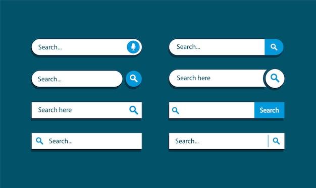 Set di barra di ricerca. progettazione di pannelli di ricerca. interfaccia utente di ricerca modello.