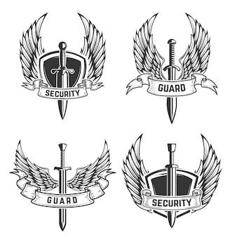 Set di emblemi di sicurezza con spade e ali. elemento per logo, etichetta, emblema, segno. illustrazione