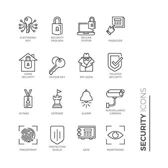 Set di icone di linea relative alla sicurezza