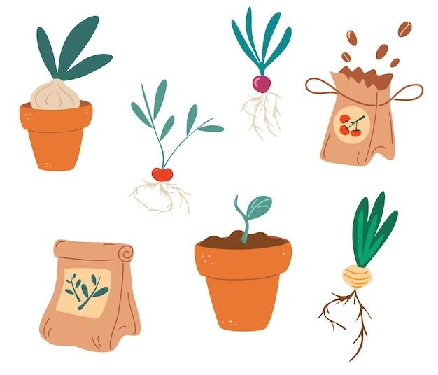 Set di piantine. semi, fertilizzanti, piantine, vaso con germogli, radici. piante in crescita in contenitori. giardinaggio, piantine primaverili, coltivazione di ortaggi. design piatto di illustrazione vettoriale.