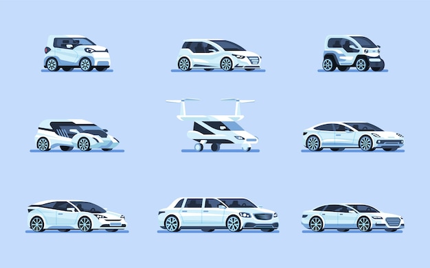 Set di illustrazione di auto a guida autonoma