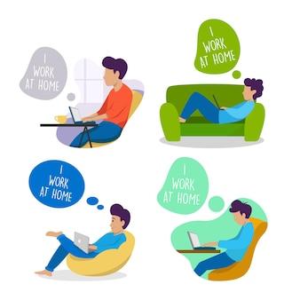 Set di attività di auto quarantena da casa concept design illustration