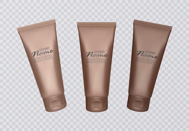 Set di flaconi per concentrato autoabbronzante. varie tonalità di scottature solari, pelle color bronzo.