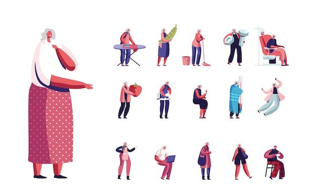 Set di personaggi femminili senior lifestyle. invecchiato donna dai capelli grigi stiratura vestiti, pavimento con straccio, cibo sano e donazione di sangue isolati su sfondo bianco. pacchetto di illustrazione vettoriale di persone dei cartoni animati