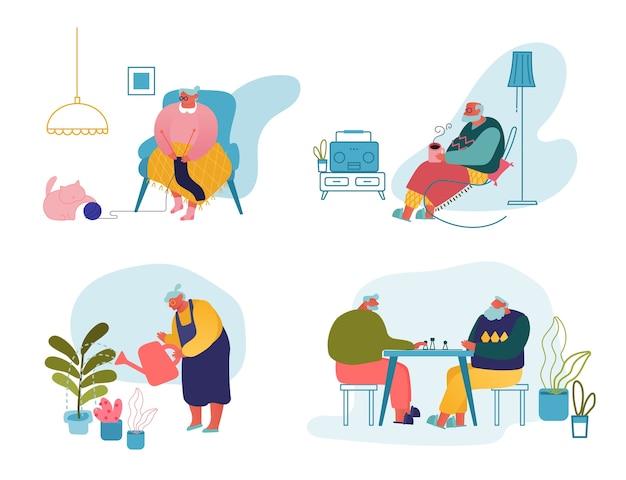 Set di attività di persone anziane e tempo libero.