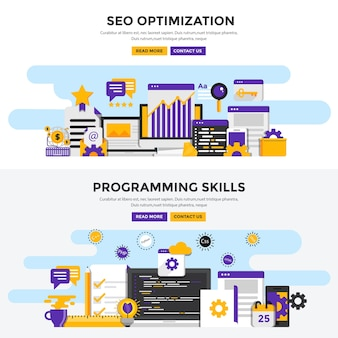 Set di illustrazioni seo e programmazione