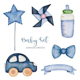 Set di parti separate e unire a bei vestiti, oggetti per bambini e giocattoli in stile acquarello, illustrazione ad acquerello