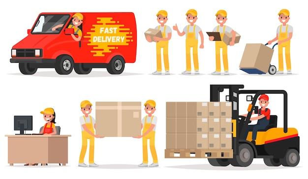 Set di illustrazione di consegna del servizio