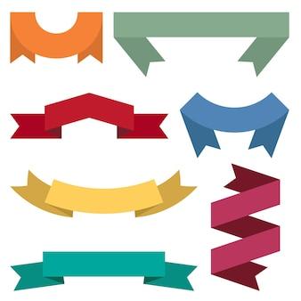 Set di sette nastri colorati e striscioni per il web design. ottimo elemento di design isolato su sfondo bianco. illustrazione vettoriale.