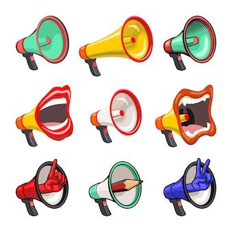Set di diversi megafoni in diverse forme