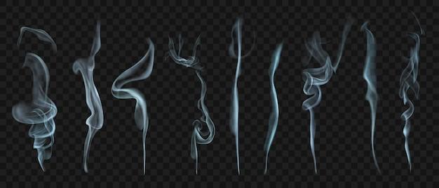 Set di diversi fumo o vapore trasparenti realistici nei colori bianco e grigio, da utilizzare su sfondo scuro. trasparenza solo in formato vettoriale