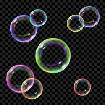 Set di diverse bolle di sapone colorate traslucide su sfondo trasparente. trasparenza solo in formato vettoriale