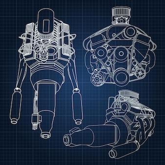 Un insieme di diversi tipi di potente motore per auto. il motore è disegnato con linee bianche su un foglio blu scuro in una gabbia.