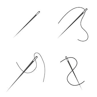 Insieme dell'illustrazione degli aghi di cucito
