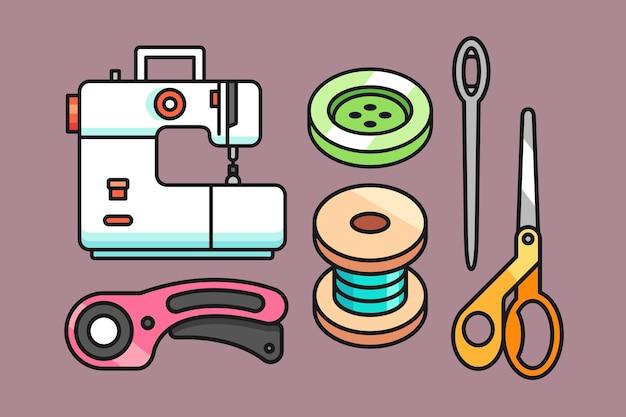 Set di illustrazione di strumenti di cucito