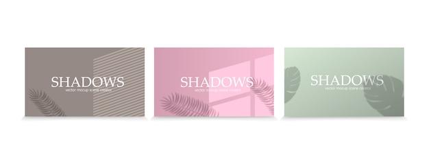 Set di effetti di sovrapposizione di ombre. effetto di sovrapposizione di ombre e luci, scena di illuminazione naturale. ombra trasparente dalla finestra, foglie e piante di monstera. rifrazione della luce realistica