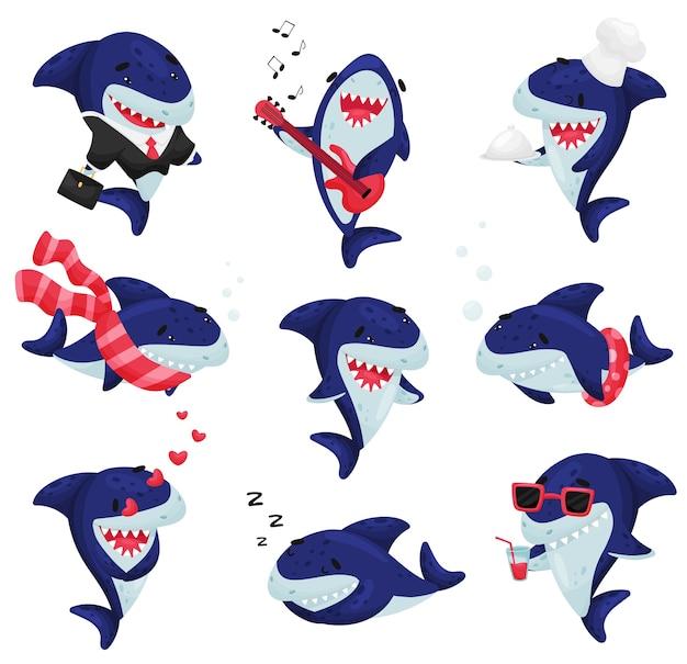Set di squali in diverse situazioni