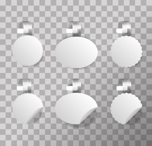 Set di tag di puntamento wobbler scaffale su sfondo trasparente