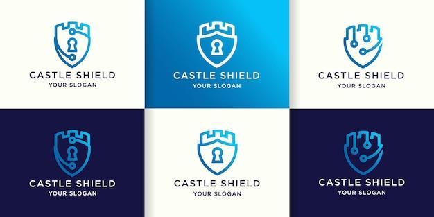 Set di design del logo del castello scudo e biglietto da visita