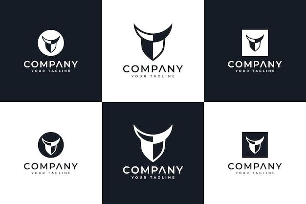 Set di design creativo con logo corno scudo per tutti gli usi