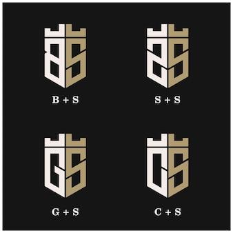 Impostare la combinazione di design del logo lettering scudo