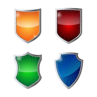Set di protezione scudi, sicurezza web, concetto di logotipo antivirus. riflessi lucidi verdi, arancioni, blu, gialli scudi rossi in cornici cromate. illustrazione della difesa della politica di salvaguardia