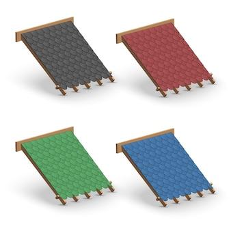 Set di copertura per tetti in scandole sul tetto. concetto di elemento per la costruzione e la riparazione di edifici.