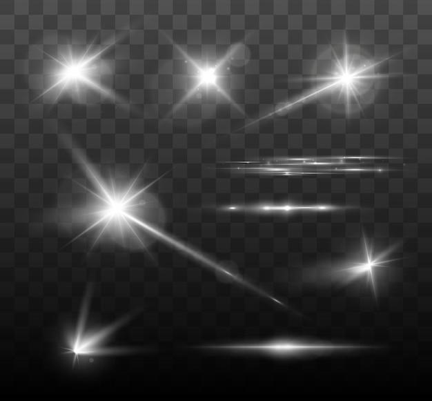 Set di scintillii brillanti e bagliori di lenti luci incandescenti isolate su sfondo trasparente