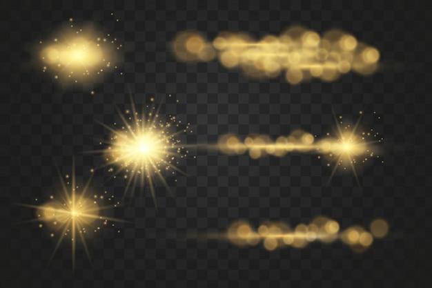 Impostato. stella splendente, particelle di sole e scintille con un effetto di evidenziazione, luci bokeh colorate brillano e paillettes