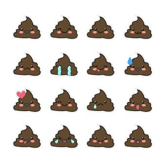 Set di icone di merda facce sorridenti simbolo emoji emoticon illustrazione vettoriale