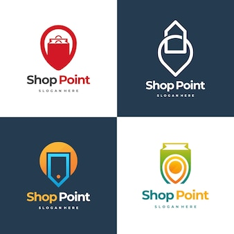 Set di logo shop point progetta il vettore di concetto, il modello di design del logo del negozio locale, l'icona del simbolo del logo
