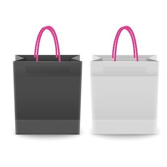 Set di borse della spesa in plastica o carta con manici, borse della spesa di colori bianco e nero, illustrazione