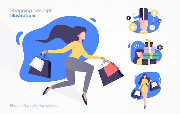 Set di scene di shopping