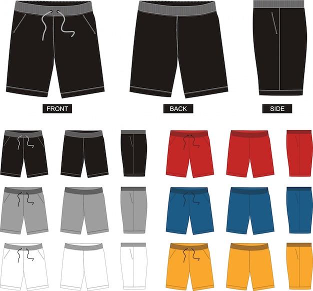 Set di pantaloni corti in diverse posizioni