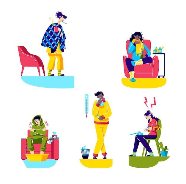Set di cartoni animati malati illustrazione