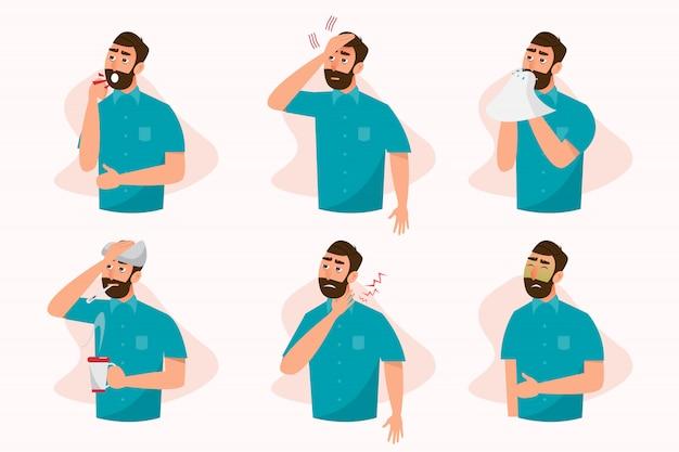 Insieme di malati che si sentono male, tosse, raffreddore, mal di gola, febbre, allergie e mal di testa