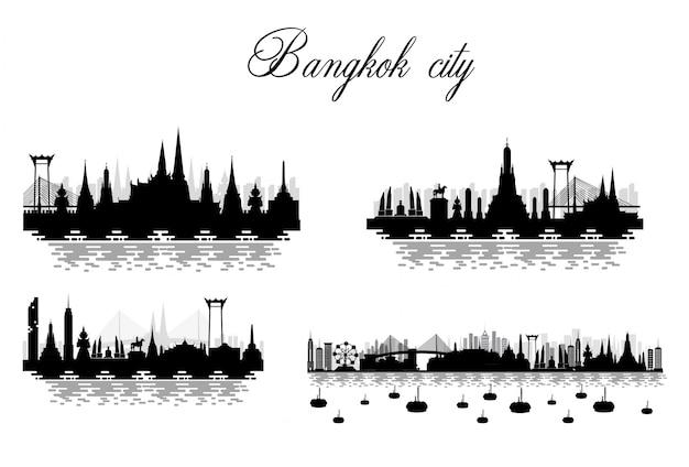 Imposta la silhouette su bangkok in thailandia