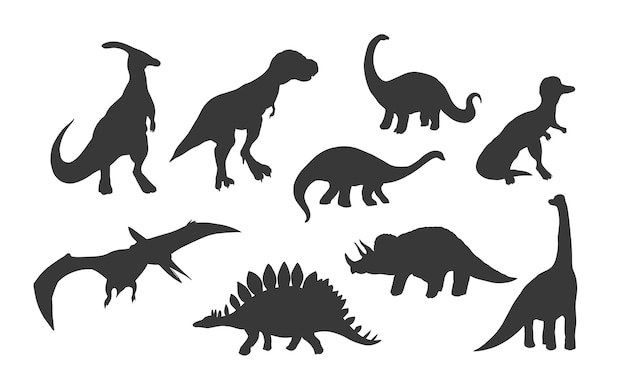Set di dinosauri silhouette isolati su sfondo bianco, illustrazione vettoriale.