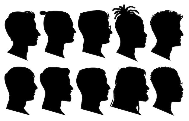 Set di teste di sagoma uomo di profilo