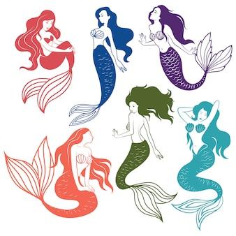 Set di sirene silhouette. collezione di sirene stilizzate.