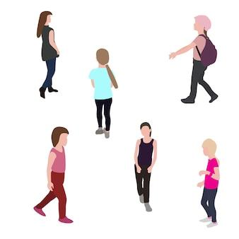 Set di bambini che camminano silhouette. illustrazione di vettore. eps10