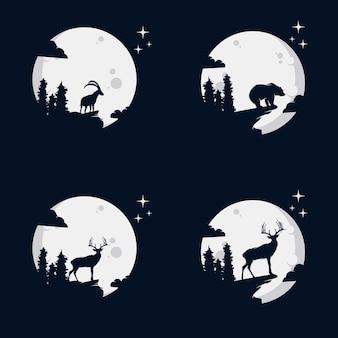 Set di silhouette di animali selvatici nell'illustrazione vettoriale luna