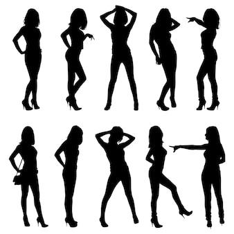 Set di sagome. belle, magre, giovani ragazze in diverse pose.