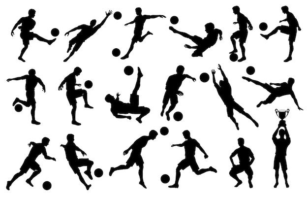 Impostare sagome di giocatori di calcio di calcio, portiere, campione della squadra con tazza, pallone da calcio in varie pose, su sfondo bianco