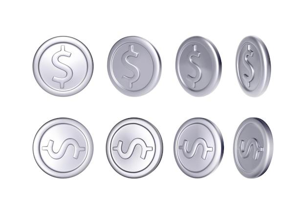 Set di monete d'argento con il simbolo del dollaro. soldi metallici di rotazione.