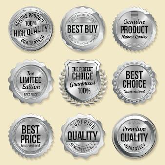 Set di badge in argento al dettaglio