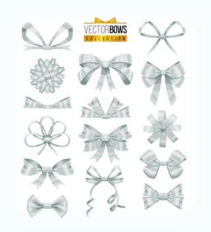 Set di fiocchi bianchi argento. illustrazione.